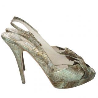 Jimmy Choo Metallic Watersnake Platform Sandals