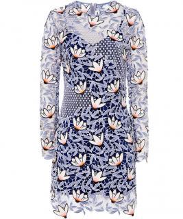 Self portrait dress flower print blue lace dress