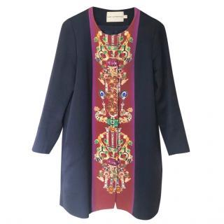 Mary Katrantzou blue/printed collarless Coat