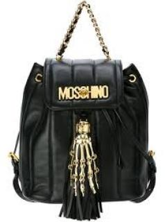 Moschino Skeleton black leather backpack