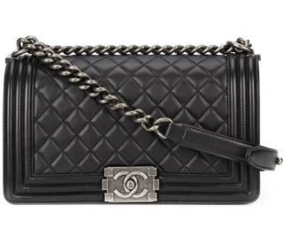 Chanel quilted black medium boy bag