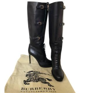 Burberry Black Leather Buckle Detail Boots