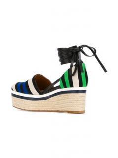 Lanvin striped wedge sandals