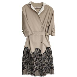 Lela Rose Beige Lace Embroidered Trench coat