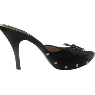 Dior Black Cannage Leather Slide,Size 38