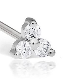 Maria Tash 18ct diamond trinity earring