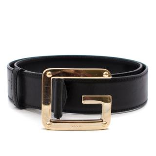 Gucci Black Leather G Buckle Belt