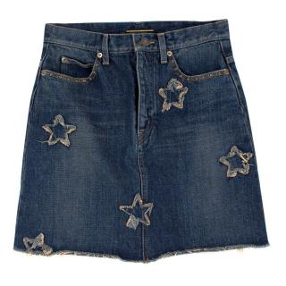 Saint Laurent Denim Star Applique Skirt