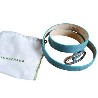 Longchamp blue slim leather belt