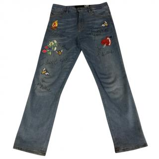 Love Moschino I love you patch work jeans