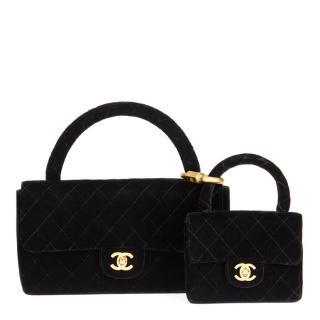 Chanel Quilted Black Velvet Medium Kelly Flap Bag Mini Charm Set