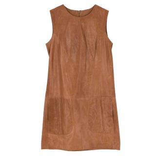 Vince Brown Leather Shift Dress