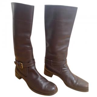 Prada leather riding boots