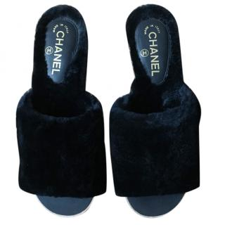 Chanel leather/fur slider mules