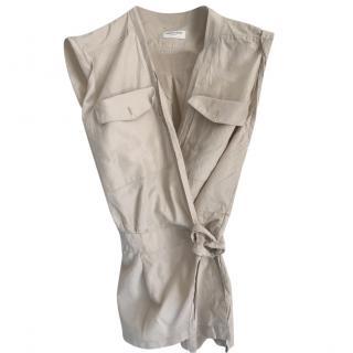 Dries Van Noten beige silk sleeveless  blouse