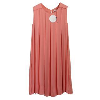 Chloe coral silk dress