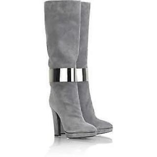 Sergio Rossi Knee High Grey Suede Boots