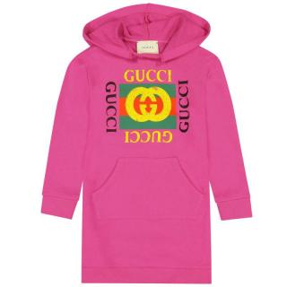 Gucci girl's hooded logo dress