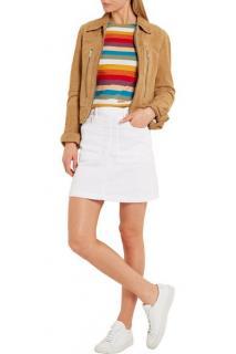 FRAME DENIM Le Francoise white denim stretchy mini skirt