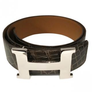 Hermes Brown Porosus Crocodile belt