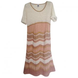 M Missoni light beige knit cotton dress