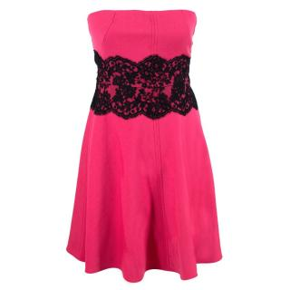 Valentino Pink Wool Bandeau Dress