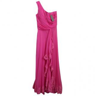Alberta Ferretti fuchsia silk dress
