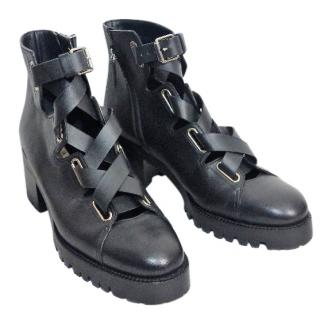 VALENTINO Lace up leather combat boots