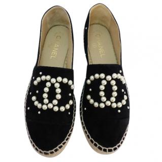 Chanel black suede pearl espadrilles