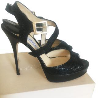 Jimmy Choo Black Glitter Sandals