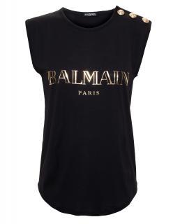 Balmain gold logo vest top