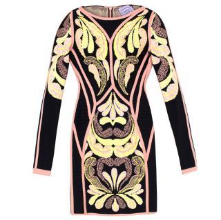 Herve Leger Freja Paisley Jacquard Dress