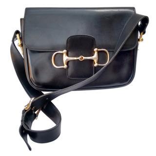 Celine Vintage Black Leather Shoulder Bag.