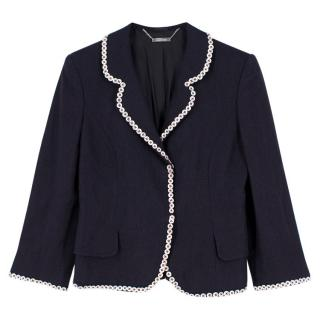Alexander McQueen Navy Buttoned Blazer