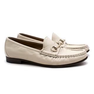 Gucci Cream Horsebit Loafers
