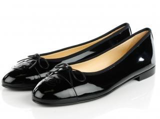 Chanel black patent ballet pumps
