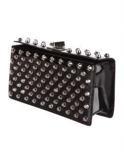 Prada Small Studded Patent Leather Turn-Lock Clutch