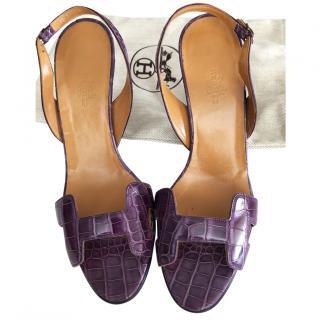 Hermes Night Croco Sandals