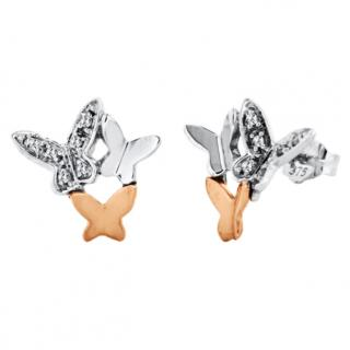 Diamond Butterfly Earrings 9ct Gold