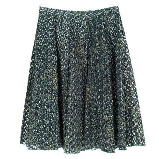 Miu Miu Green Lace Cut-out Pleated Skirt