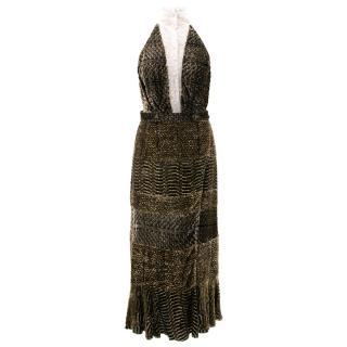 Altuzarra Lace-Inset Velvet Backless Dress