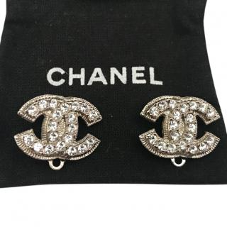 Chanel Crystal Silver CC Clip On Earrings