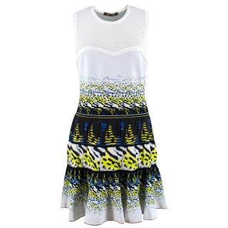 Roberto Cavalli White Patterned Silk Dress
