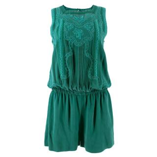 Vanessa Bruno Silk Embroidered Playsuit