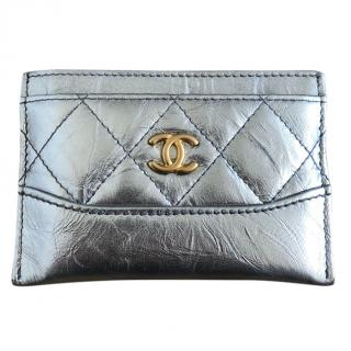 Chanel matte cracked silver card holder Wallet