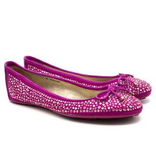Jimmy Choo Weber Flat Pink Crystal Pumps
