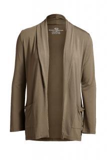 Belinda Robertson Luxe Jersey Edge to Edge Cardigan, Khaki Green, Medi