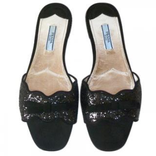 Prada Black Suede Glitter Flat Sandals