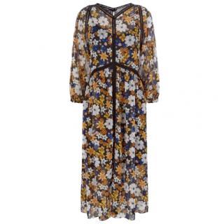 Sandro 'Renol' Floral Print Chiffon Midi Dress