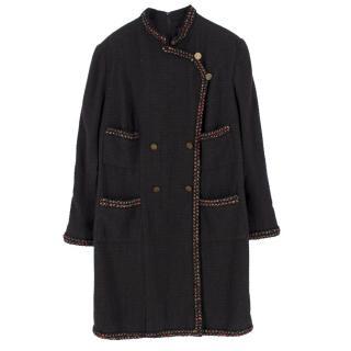 Chanel Brown Tweed Wool Military Dress